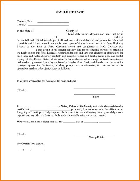 impressive sle of affidavit form template with some