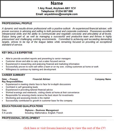 financial advisor resume sles financial adviser cv exle forums learnist org