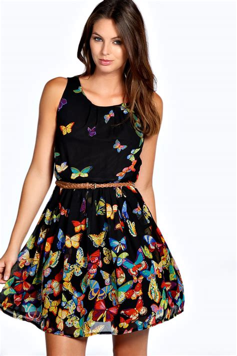 Buterfly Dres boohoo womens butterfly print sleeveless skater dress in black