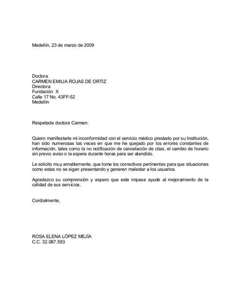 carta formal queja formato carta reclamo