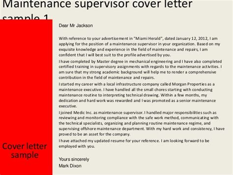 Concrete Supervisor Cover Letter by Cover Supervisor Cover Letter Template