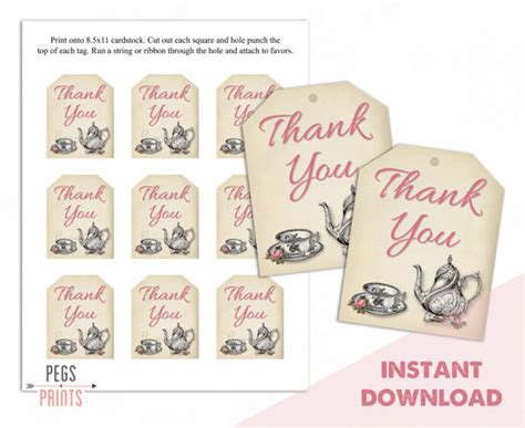 printable name tags for tea party tea party thank you tags tea party gift tags bridal shower