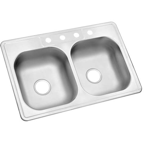 Glacier Bay Drop In Stainless Steel 33 In 4 Hole Double Glacier Bay Kitchen Sink