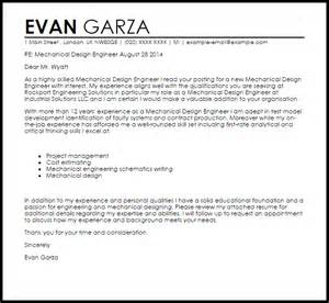 cover letter for a design mechanical design engineer cover letter sle livecareer