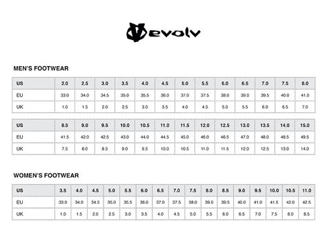 climbing shoe size chart size charts evolv mountain designs