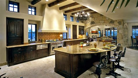 circular kitchen island luxury kitchen interior design in open living space with elevated ceiling large island is semi