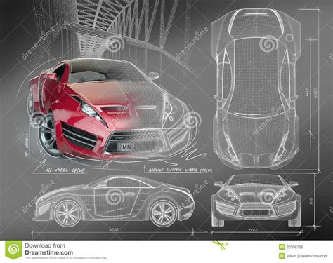 Blue Print Software sports car blueprints royalty free stock image image