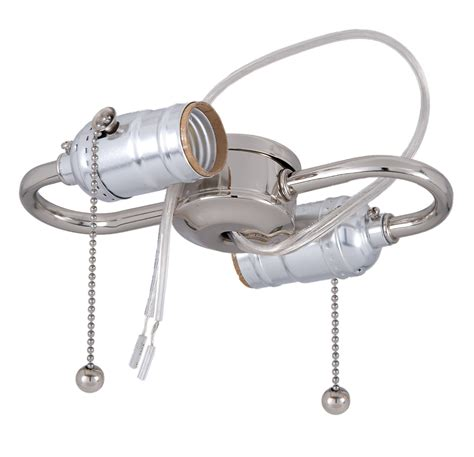 light socket adapter with pull chain nickel 2 light s type cluster body with pull chain sockets