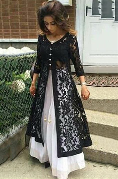 kurta pattern with net net machine work black unstitched long anarkali suit l2