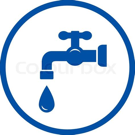Blue Plumbing by Blue Plumbing Icon With Faucet And Drop In Frame