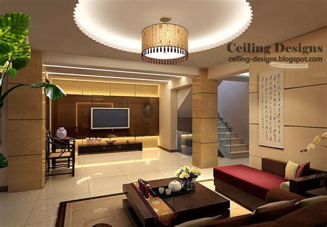 Living Room Gypsum Ceiling by Ceiling Designs