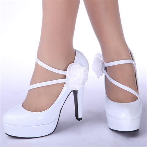 white wedding platform belt high heel