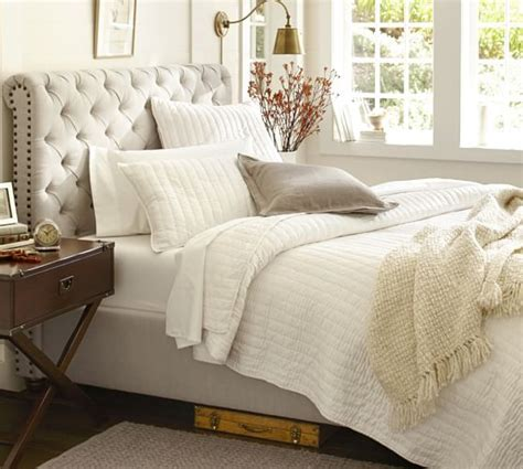 upholstered headboard pottery barn chesterfield upholstered bed headboard pottery barn