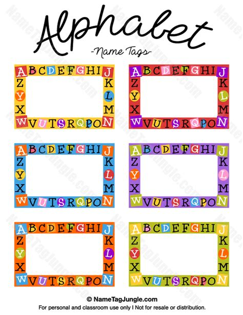 preschool name tag templates free printable alphabet name tags the template can also
