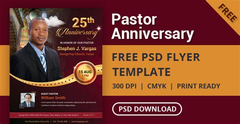 Free Pastor Anniversary Flyer Psd Template Designyep Pastor Anniversary Flyer Free Template
