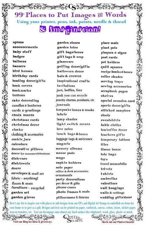 printable list of quotes get my printable list of 99 places to put images words