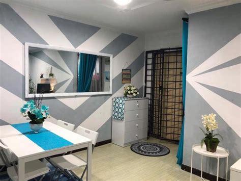 gambar  guna cat hasilkan corak geometri  dinding