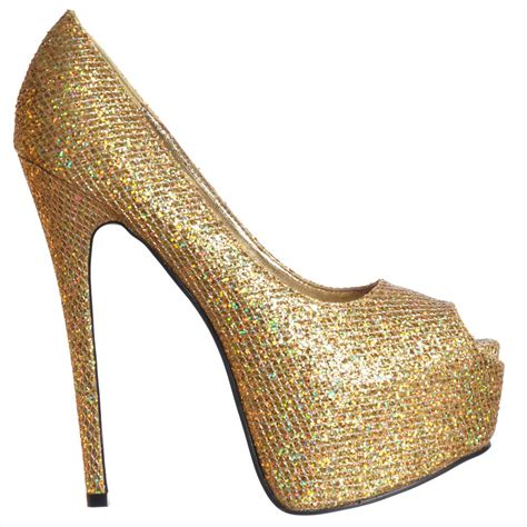 gold high heel shoekandi peep toe sparkly glitter stiletto concealed