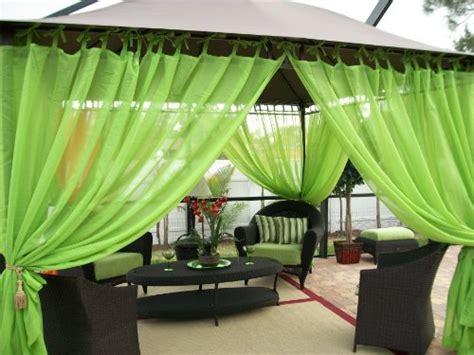 outdoor drapes gazebo patio sheers tie top key lime