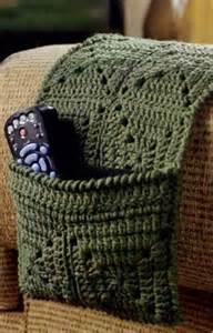 crochet arm chair caddy for remote controls crochet