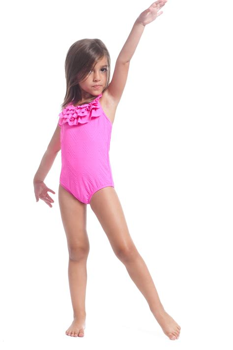 kids swimsuit models shocking pink ruffle one piece baby girl swim 2015
