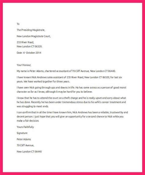 letter to judge format character letter for judge bio letter format