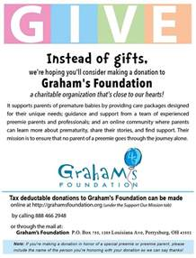 donation for gift donate in lieu of gifts graham s foundation
