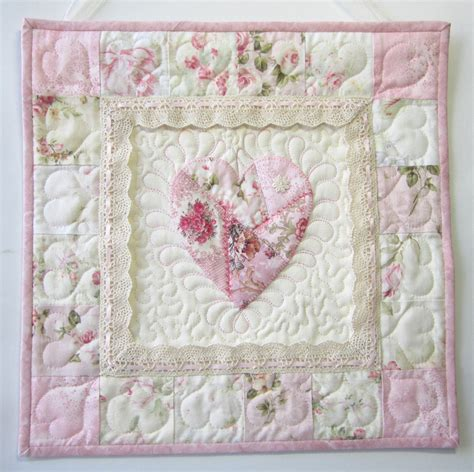 Shabby Chic Patchwork Quilts - shabby cottage chic wall quilt applique wall quilt