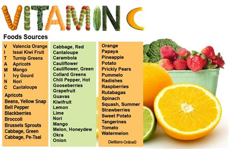 vegetables vitamins vitamin c fruits and vegetables
