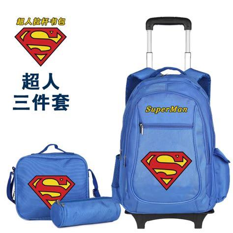 Supersale Kidsbag 3bags set superman school bag for boys trolley bag set wheeled backpack rolling