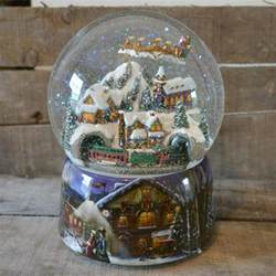 large flying santa train christmas musical snow globe
