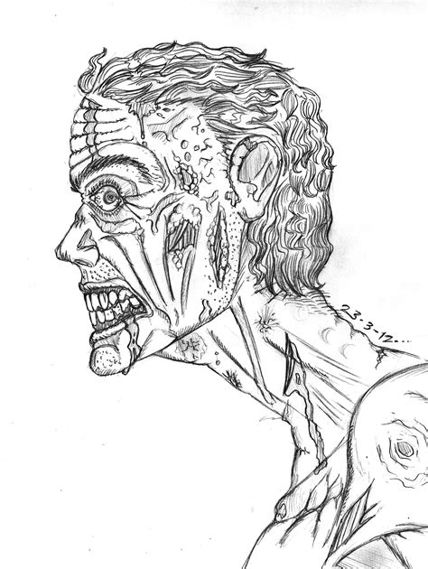 scary coloring pages of zombies zombie sketch by thewallproducciones on deviantart