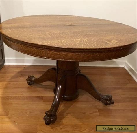 Antique Large Oak Dining Table With Claw