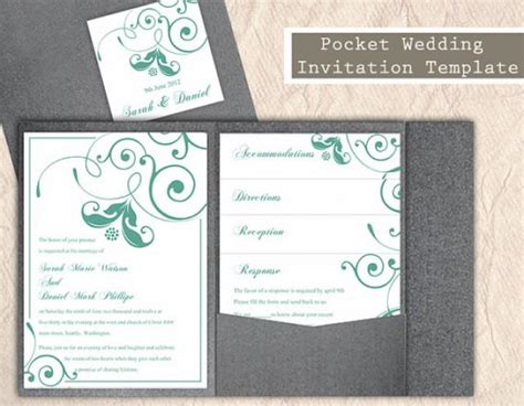 Pocket Wedding Invitation Template Set Diy Download Editable Text Word File Mint Green Wedding Mint Green Wedding Invitation Template