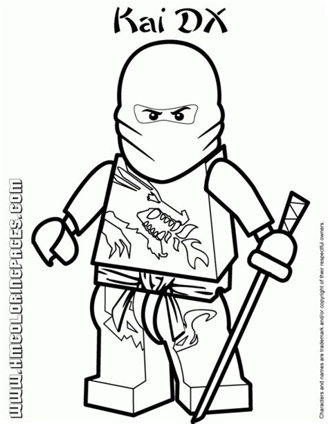 lego ninjago coloring pages free kai the red ninja in lego ninjago coloring pages fun