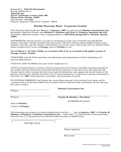 warranty deed form fillable printable  forms