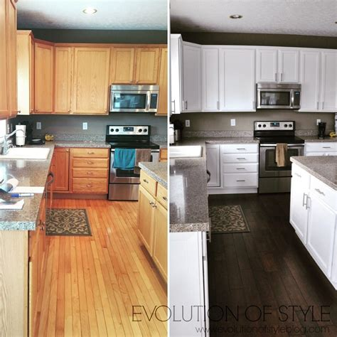 painted oak kitchen cabinets before and after updated oak kitchens