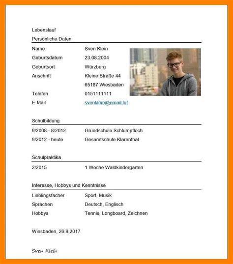 Lebenslauf Schüler Muster by 12 Tabellarischer Lebenslauf Sch 195 188 Ler Vorlage
