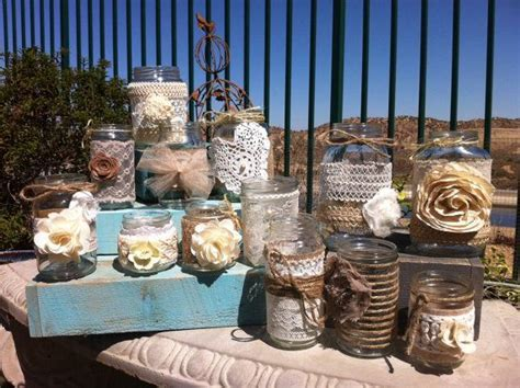 BURLAP LACE MASON Jars. Bulk Mason Jar Centerpieces. Head