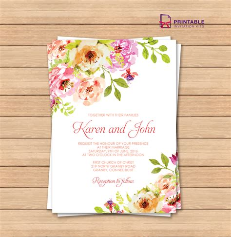 Vintage Floral Border Invitation Template Wedding Floral Wedding Invitation Template