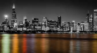 color black and white photos chicago skyline black and white with color reflection