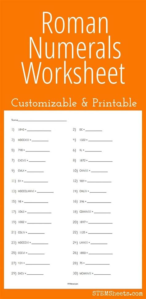 printable math worksheets roman numerals maths roman numerals and roman on pinterest