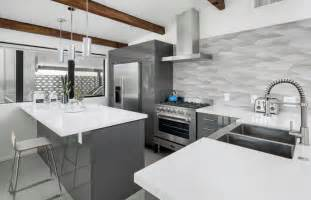 Modern Kitchen Countertops And Backsplash kitchen with gray cabinets white countertops metallic backsplash
