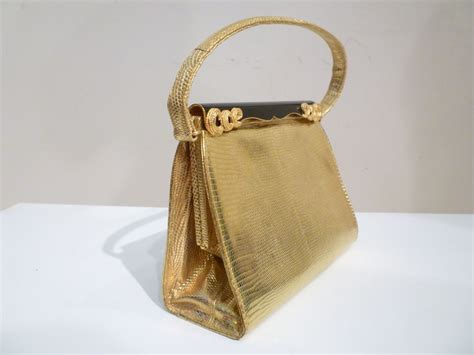 W Magazine Saks Designer Purse Giveaway by 50s Saks Fifth Avenue Gold Lizard Bag W Enameled