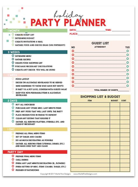 printable party planner list holiday party planner free checklist to prepare for parties