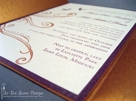 aubergine pocketfold wedding invitations la rue louise copper eggplant wedding pocketfold