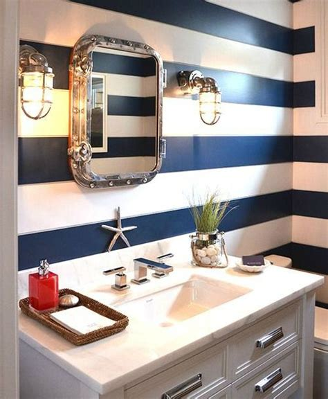 nautical bathroom designs nautical bathroom with navy blue striped walls http www