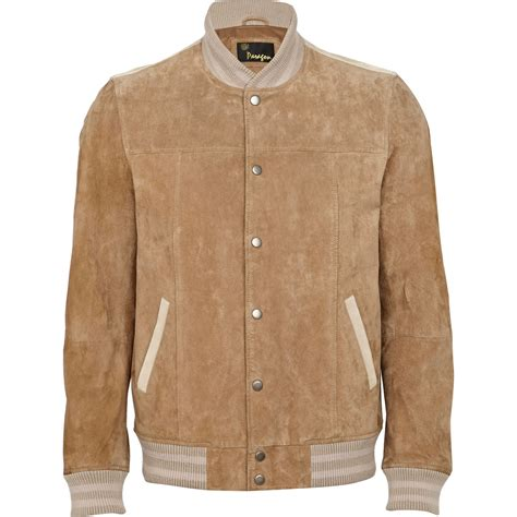 light brown jacket mens river island light brown suede leather jacket in brown for