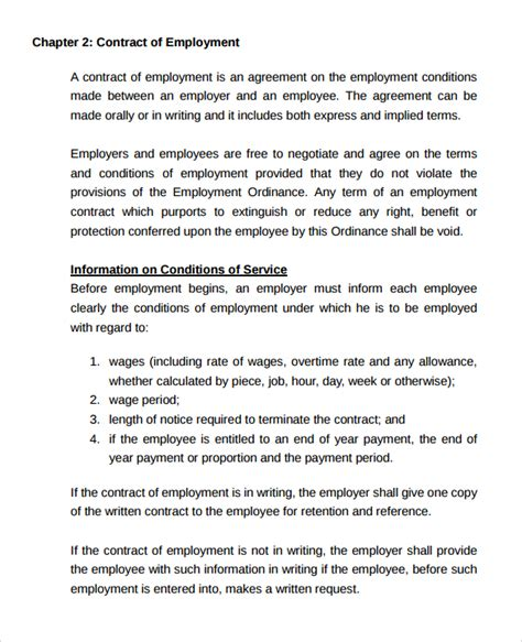 casual employment contract template employment contract 9 documents in pdf doc