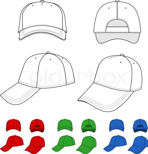 hat design template cap vector illustration featured front back side top